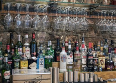 Well stocked bar at the Anchor Inn, Tintern