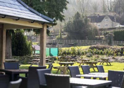 Large beer garden at the Anchor Inn, Tintern